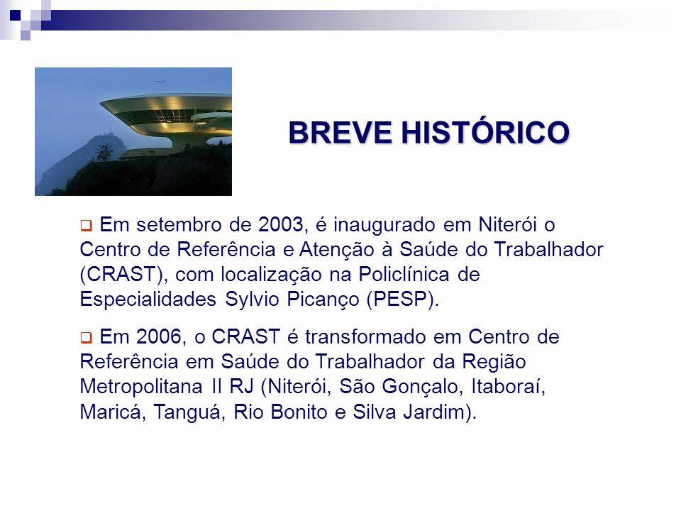 Em setembro de 2003, é inaugurado em Niterói o Centro de Referência e Atenção à Saúde do Trabalhador (CRAST), com localização na Policlínica de Especi