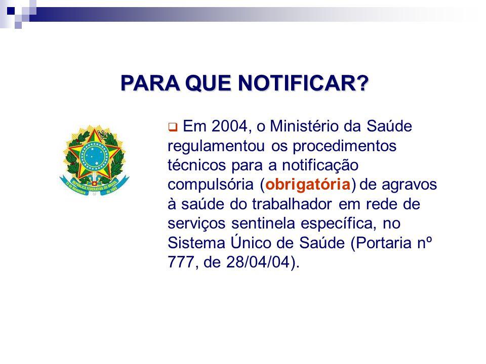 Em 2004, o Ministério da Saúde regulamentou os procedimentos técnicos para a notificação compulsória (obrigatória) de agravos à saúde do trabalhador em rede de serviços sentinela específica, no Sistema Único de Saúde (Portaria nº 777, de 28/04/04).