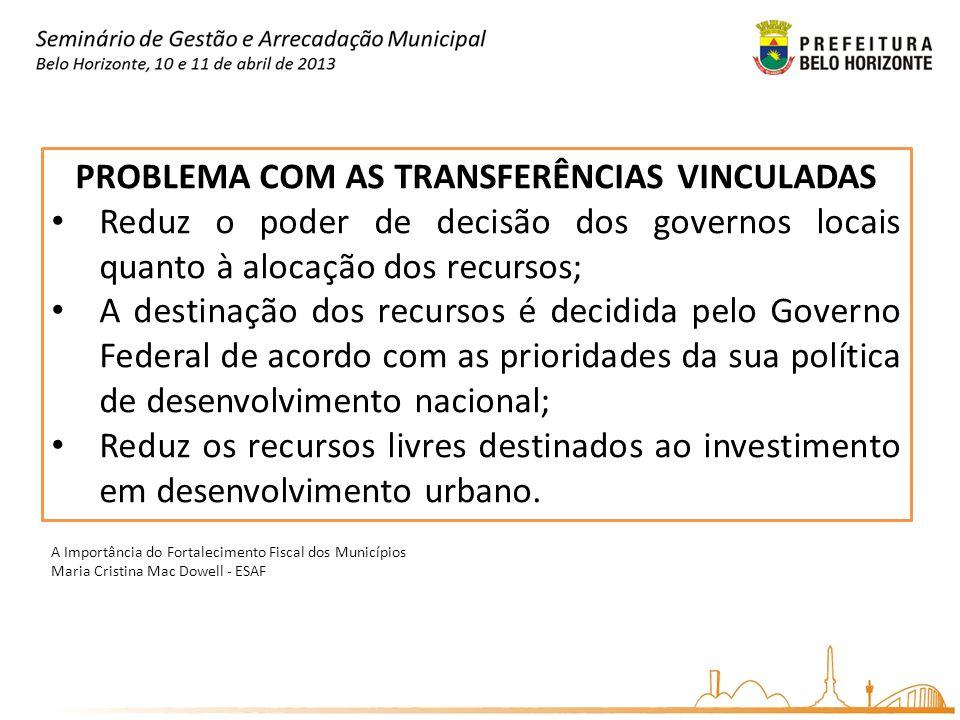 PROBLEMA COM AS TRANSFERÊNCIAS VINCULADAS Reduz o poder de decisão dos governos locais quanto à alocação dos recursos; A destinação dos recursos é dec
