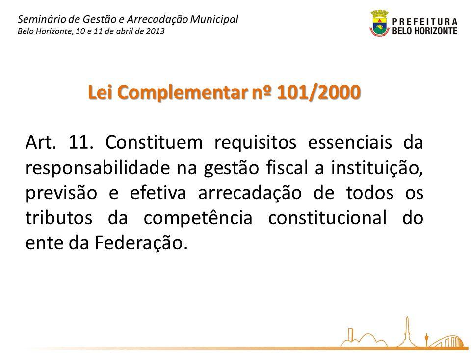 Lei Complementar nº 101/2000 Art. 11. Constituem requisitos essenciais da responsabilidade na gestão fiscal a instituição, previsão e efetiva arrecada