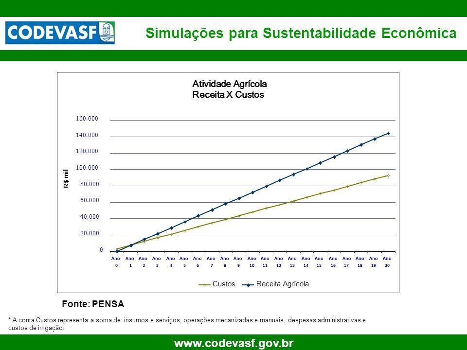 13 www.codevasf.gov.br Simulações para Sustentabilidade Econômica Fonte: PENSA * A conta Custos representa a soma de: insumos e serviços, operações me