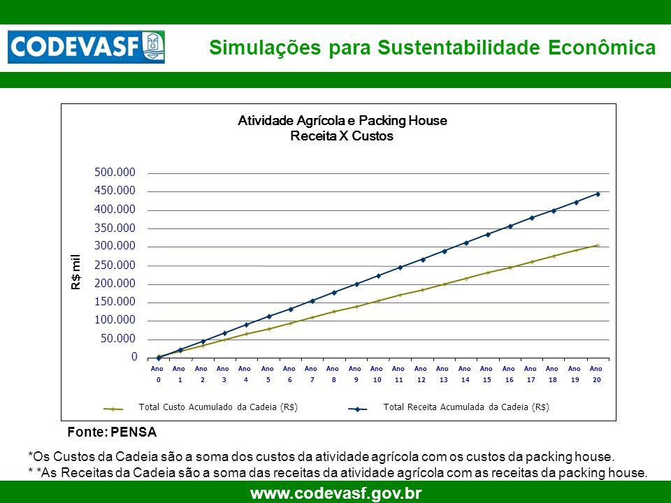 17 www.codevasf.gov.br Simulações para Sustentabilidade Econômica Fonte: PENSA *Os Custos da Cadeia são a soma dos custos da atividade agrícola com os
