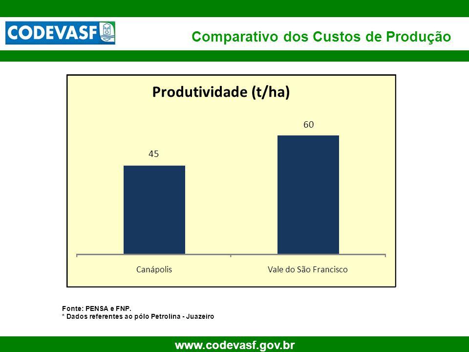 20 www.codevasf.gov.br Comparativo dos Custos de Produção Fonte: PENSA e FNP. * Dados referentes ao pólo Petrolina - Juazeiro 45 60 CanápolisVale do S