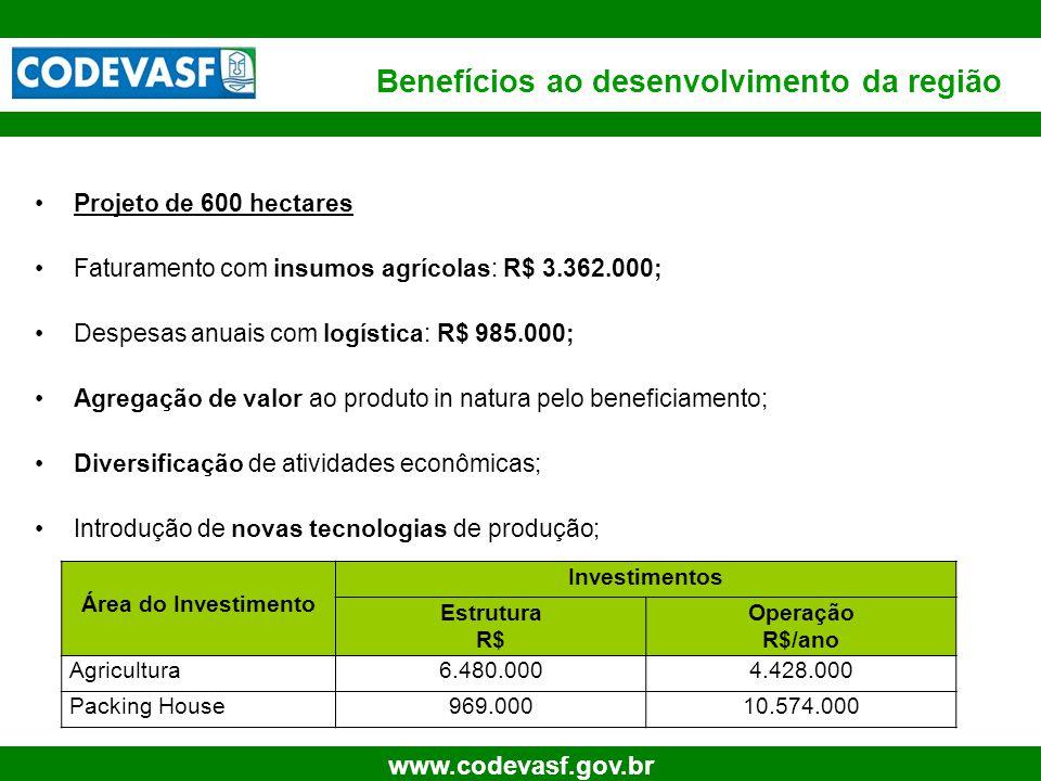 26 www.codevasf.gov.br Projeto de 600 hectares Faturamento com insumos agrícolas: R$ 3.362.000; Despesas anuais com logística: R$ 985.000; Agregação d