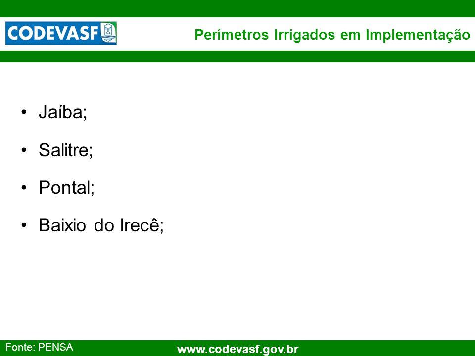 29 www.codevasf.gov.br Perímetros Irrigados em Implementação Jaíba; Salitre; Pontal; Baixio do Irecê; Fonte: PENSA