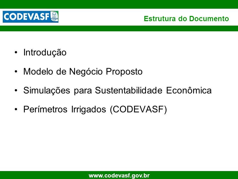 3 www.codevasf.gov.br Estrutura do Documento Introdução Modelo de Negócio Proposto Simulações para Sustentabilidade Econômica Perímetros Irrigados (CO