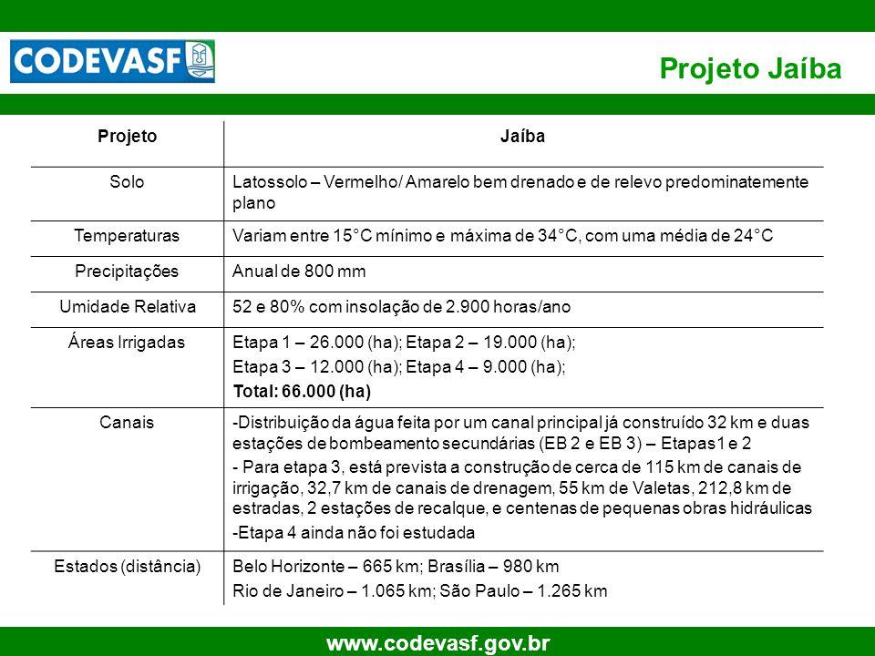 30 www.codevasf.gov.br Projeto Jaíba ProjetoJaíba SoloLatossolo – Vermelho/ Amarelo bem drenado e de relevo predominatemente plano TemperaturasVariam