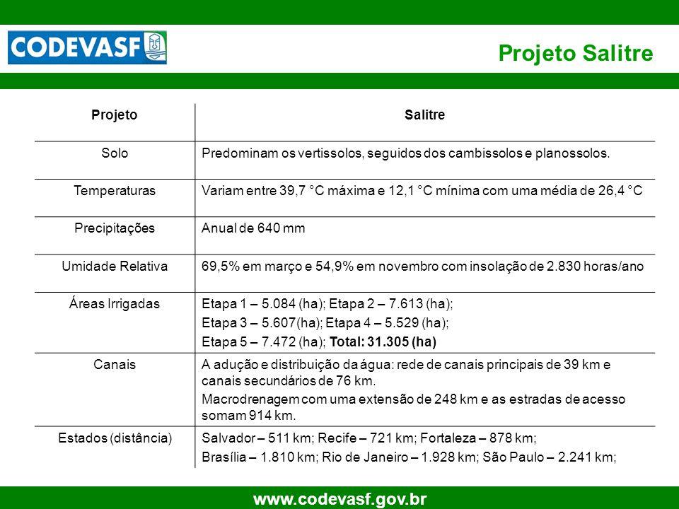 32 www.codevasf.gov.br Projeto Salitre ProjetoSalitre SoloPredominam os vertissolos, seguidos dos cambissolos e planossolos. TemperaturasVariam entre