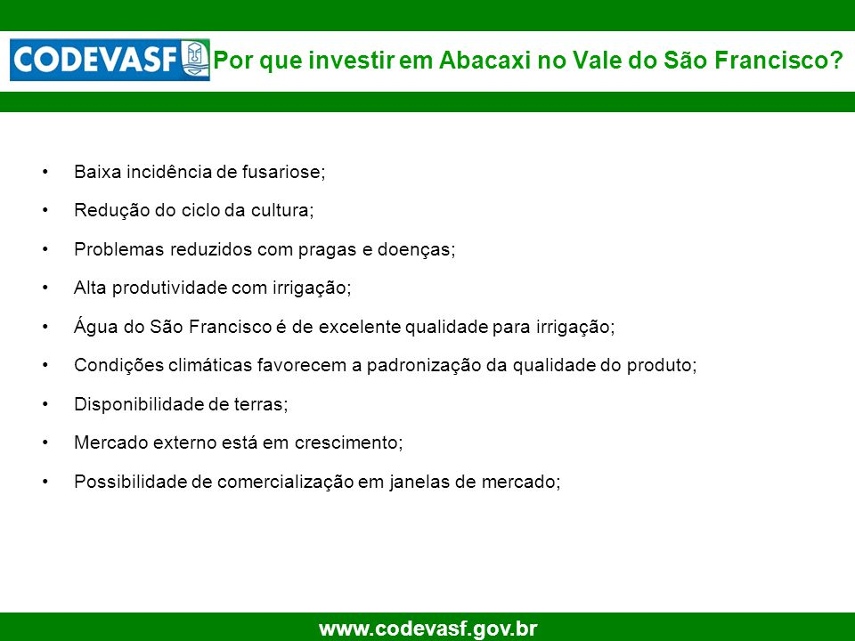 6 www.codevasf.gov.br Baixa incidência de fusariose; Redução do ciclo da cultura; Problemas reduzidos com pragas e doenças; Alta produtividade com irr