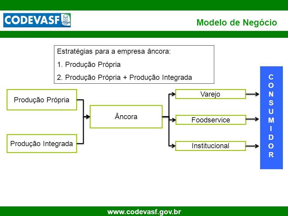 7 www.codevasf.gov.br Modelo de Negócio Estratégias para a empresa âncora: 1. Produção Própria 2. Produção Própria + Produção Integrada Produção Própr