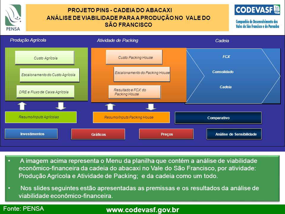 10 www.codevasf.gov.br Premissas – Produção Agrícola Área considerada: 600 ha (50% com produtores integrados); 2 anos para ocupação total da área; 20 anos de projeto; Irrigação por gotejamento; Investimentos (Financiamento 100% capital próprio, cenário conservador); Estrutura (R$): 6.480.000.