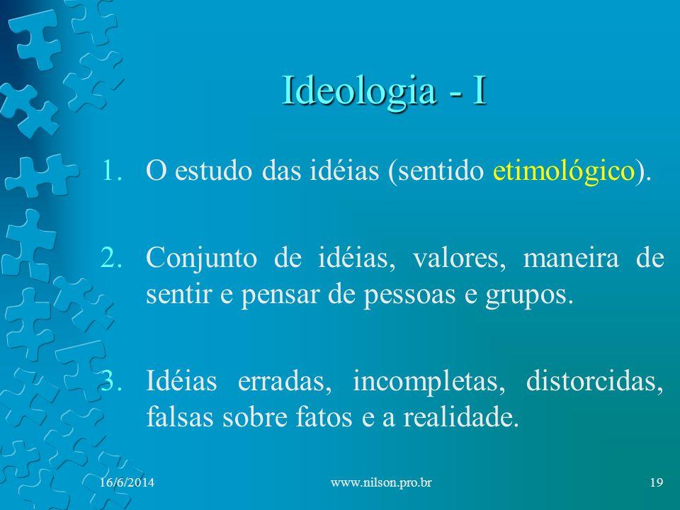 Ideologia - I 1.O estudo das idéias (sentido etimológico).