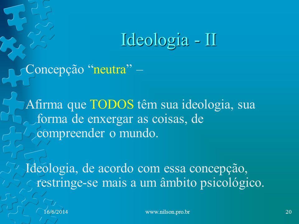 Ideologia - II Concepção neutra – Afirma que TODOS têm sua ideologia, sua forma de enxergar as coisas, de compreender o mundo.