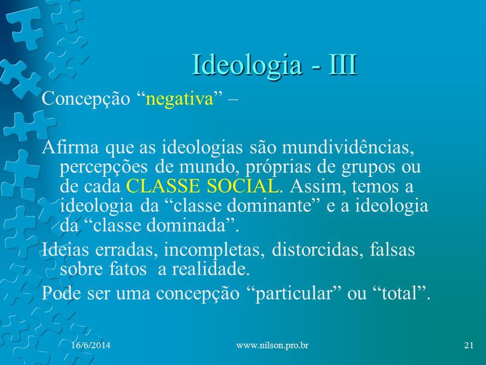 Ideologia - III Concepção negativa – Afirma que as ideologias são mundividências, percepções de mundo, próprias de grupos ou de cada CLASSE SOCIAL.