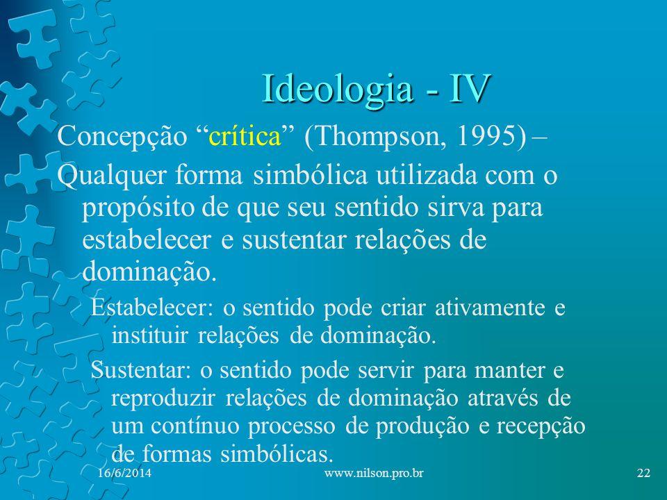 Ideologia - IV Concepção crítica (Thompson, 1995) – Qualquer forma simbólica utilizada com o propósito de que seu sentido sirva para estabelecer e sustentar relações de dominação.