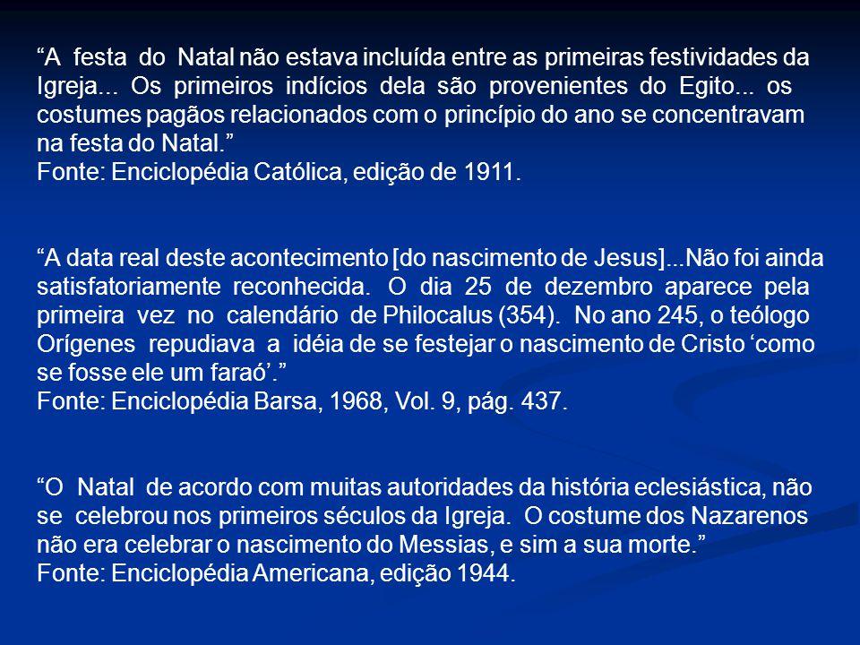 A festa do Natal não estava incluída entre as primeiras festividades da Igreja... Os primeiros indícios dela são provenientes do Egito... os costumes
