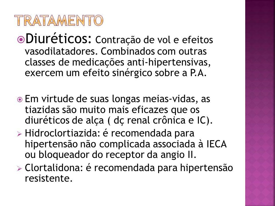 Diuréticos: Contração de vol e efeitos vasodilatadores. Combinados com outras classes de medicações anti-hipertensivas, exercem um efeito sinérgico so