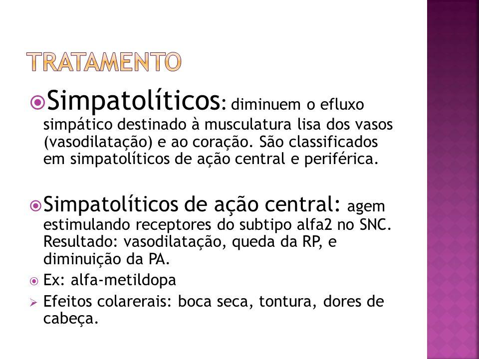 Simpatolíticos : diminuem o efluxo simpático destinado à musculatura lisa dos vasos (vasodilatação) e ao coração. São classificados em simpatolíticos