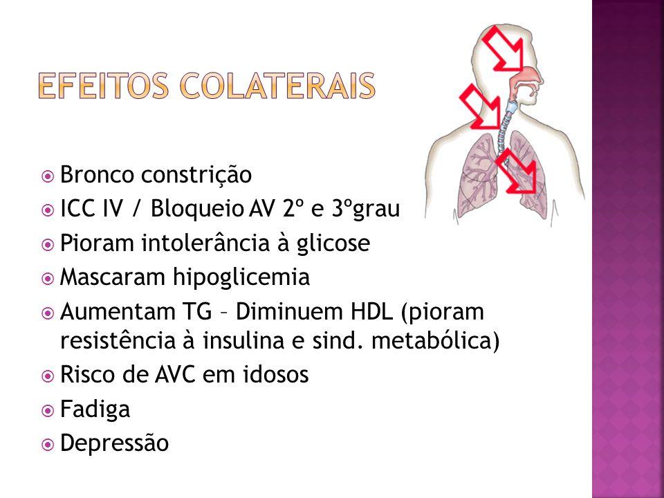Bronco constrição ICC IV / Bloqueio AV 2º e 3ºgrau Pioram intolerância à glicose Mascaram hipoglicemia Aumentam TG – Diminuem HDL (pioram resistência