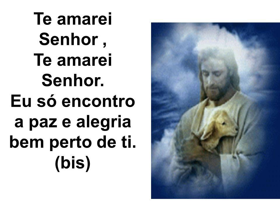 Te amarei Senhor, Te amarei Senhor. Eu só encontro a paz e alegria bem perto de ti. (bis)