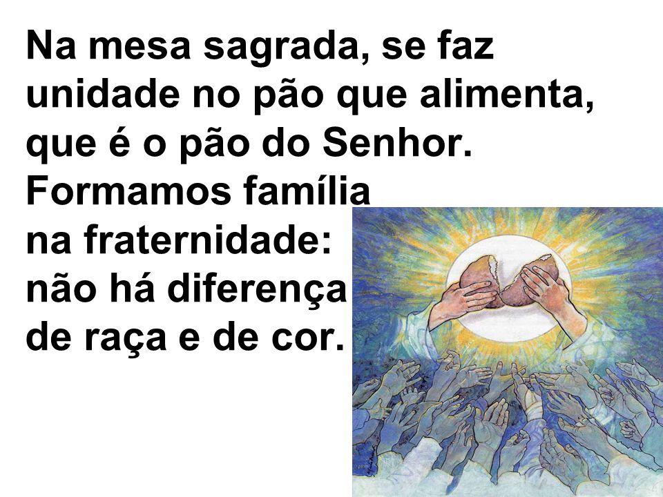 Na mesa sagrada, se faz unidade no pão que alimenta, que é o pão do Senhor. Formamos família na fraternidade: não há diferença de raça e de cor.