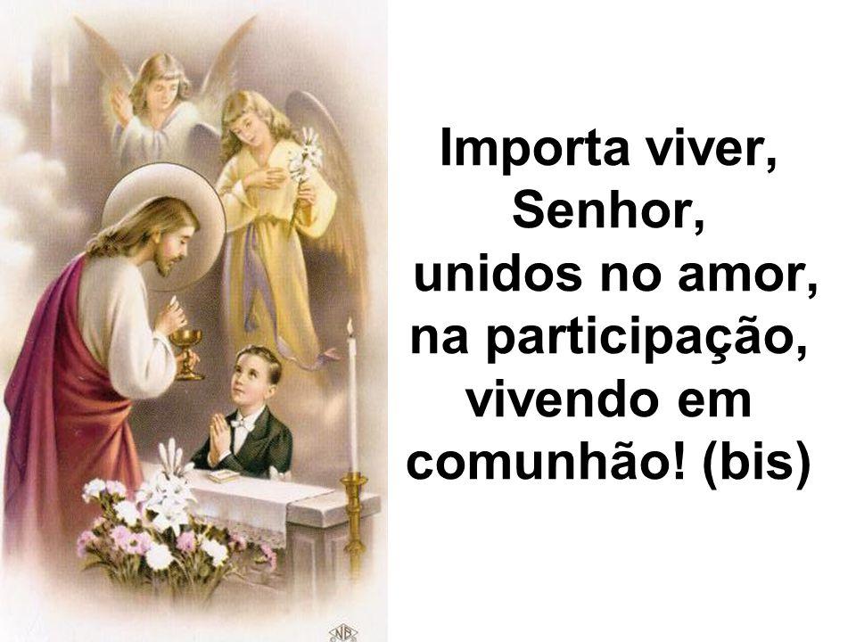 Se participamos da Eucaristia, é grande a alegria, que Deus oferece, porém não podemos deixar esquecida a dor, esta vida, que o pobre padece.