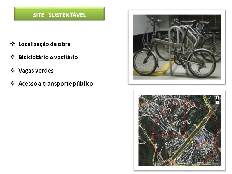 SITE SUSTENTÁVEL Localização da obra Bicicletário e vestiário Vagas verdes Acesso a transporte público