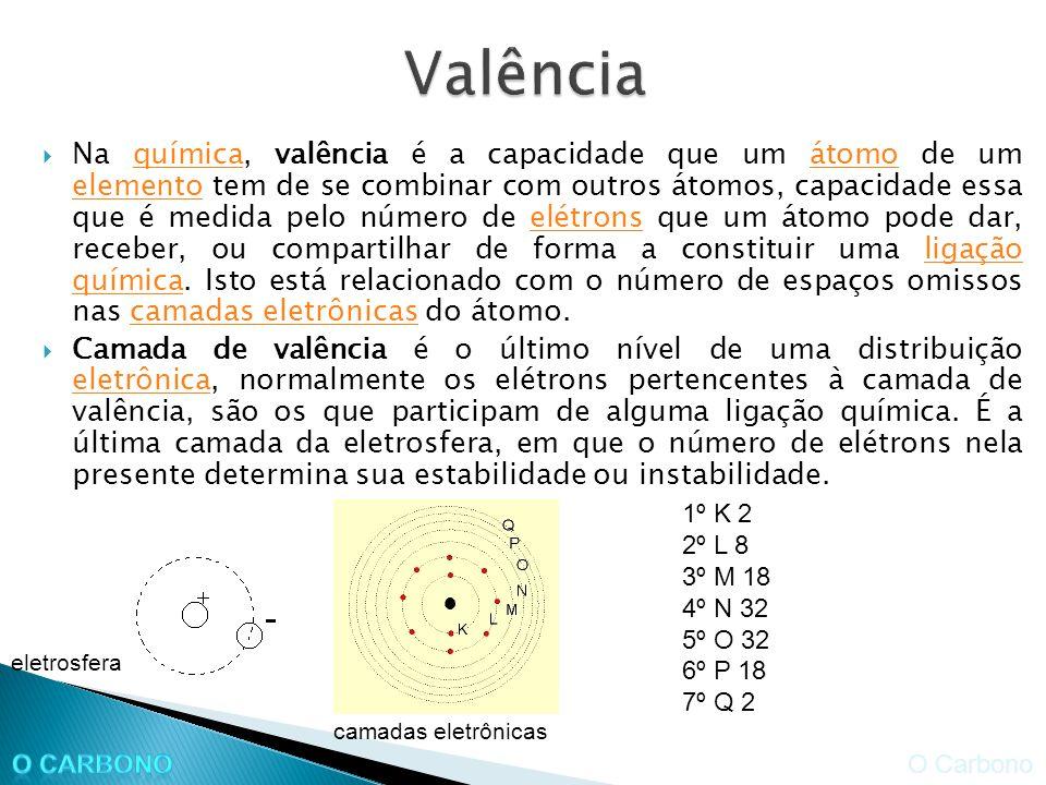 Na química, valência é a capacidade que um átomo de um elemento tem de se combinar com outros átomos, capacidade essa que é medida pelo número de elétrons que um átomo pode dar, receber, ou compartilhar de forma a constituir uma ligação química.
