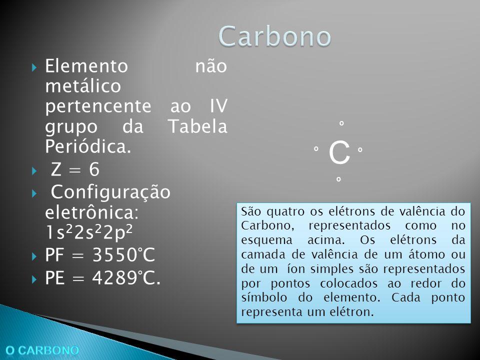Elemento não metálico pertencente ao IV grupo da Tabela Periódica. Z = 6 Configuração eletrônica: 1s 2 2s 2 2p 2 PF = 3550°C PE = 4289°C. C º º º º Sã