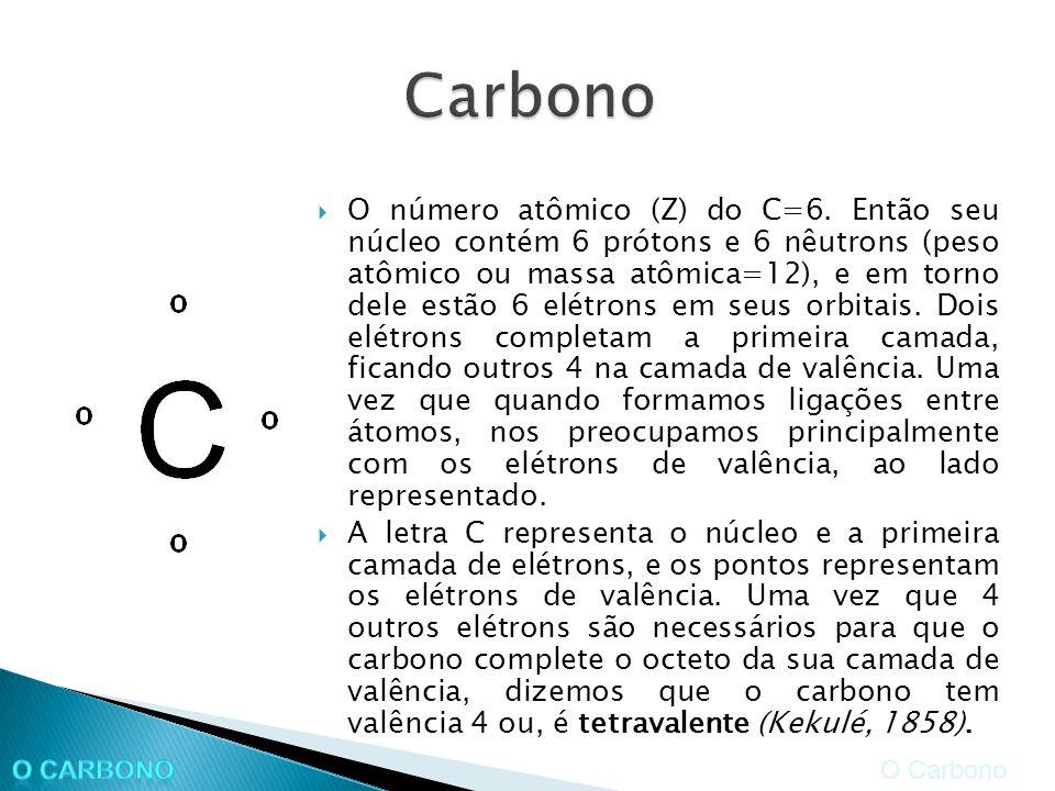 O número atômico (Z) do C=6. Então seu núcleo contém 6 prótons e 6 nêutrons (peso atômico ou massa atômica=12), e em torno dele estão 6 elétrons em se