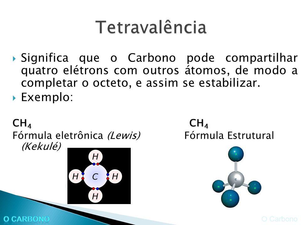 Significa que o Carbono pode compartilhar quatro elétrons com outros átomos, de modo a completar o octeto, e assim se estabilizar.