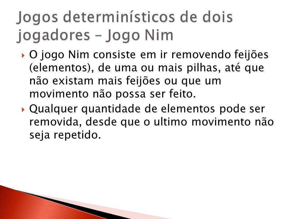 O jogo Nim consiste em ir removendo feijões (elementos), de uma ou mais pilhas, até que não existam mais feijões ou que um movimento não possa ser fei