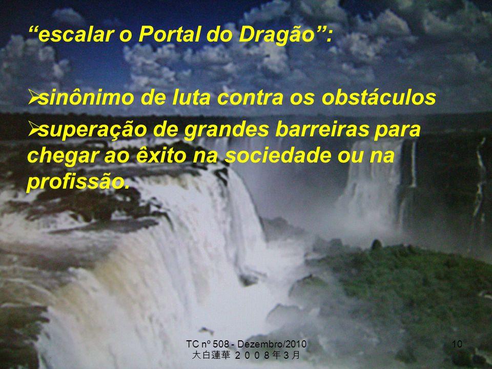 TC nº 508 - Dezembro/2010 10 escalar o Portal do Dragão: sinônimo de luta contra os obstáculos superação de grandes barreiras para chegar ao êxito na