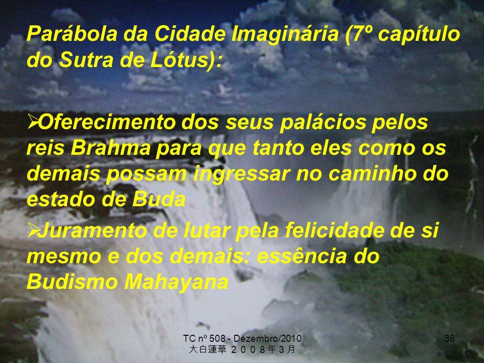 TC nº 508 - Dezembro/2010 38 Parábola da Cidade Imaginária (7º capítulo do Sutra de Lótus): Oferecimento dos seus palácios pelos reis Brahma para que