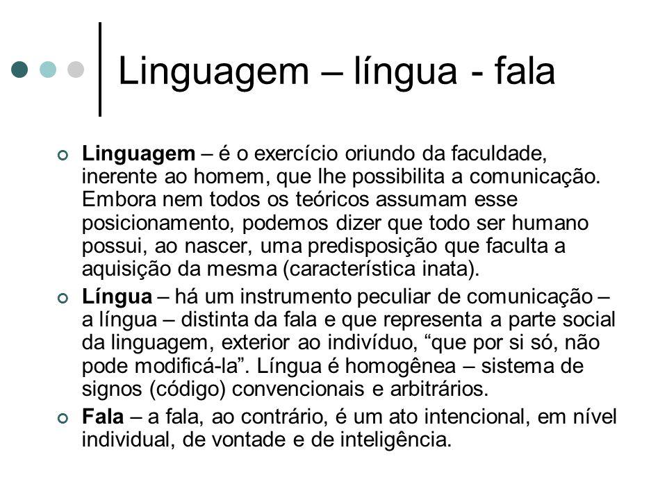 Linguagem – língua - fala Linguagem – é o exercício oriundo da faculdade, inerente ao homem, que lhe possibilita a comunicação.