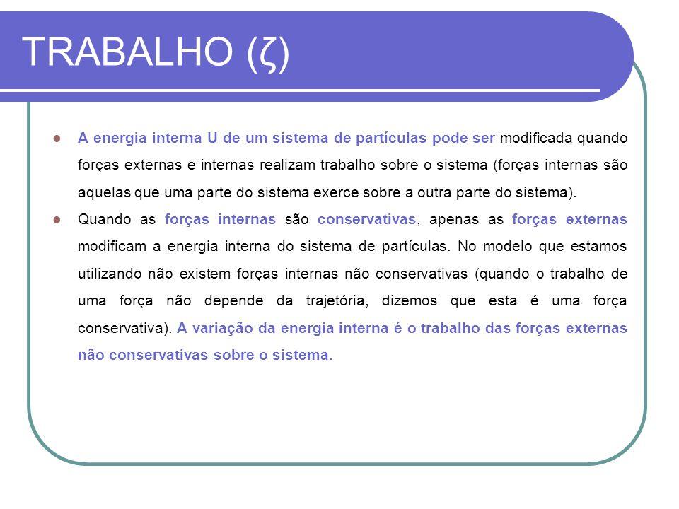 TRABALHO (ζ) A energia interna U de um sistema de partículas pode ser modificada quando forças externas e internas realizam trabalho sobre o sistema (