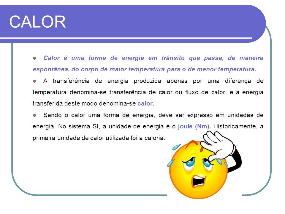 CALOR Calor é uma forma de energia em trânsito que passa, de maneira espontânea, do corpo de maior temperatura para o de menor temperatura. A transfer