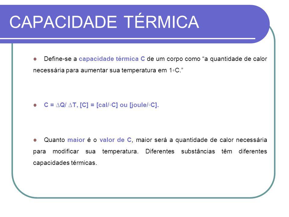 CAPACIDADE TÉRMICA Define-se a capacidade térmica C de um corpo como a quantidade de calor necessária para aumentar sua temperatura em 1C. C = Q/ T, [