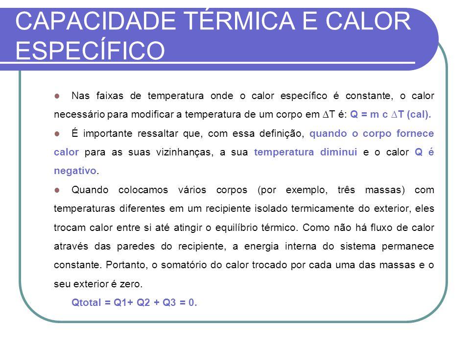 CAPACIDADE TÉRMICA E CALOR ESPECÍFICO Nas faixas de temperatura onde o calor específico é constante, o calor necessário para modificar a temperatura d