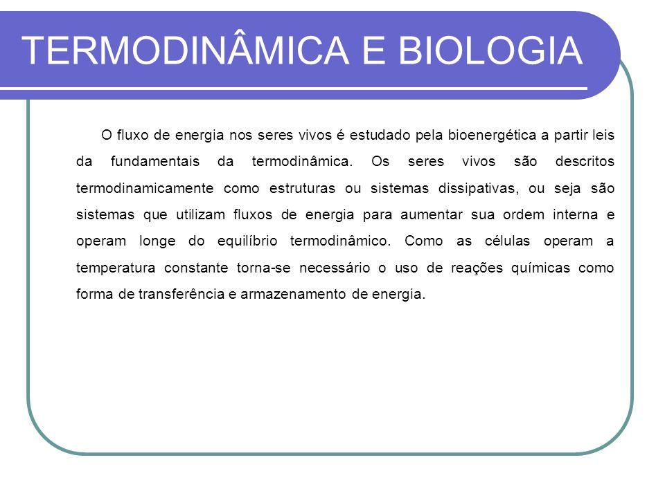 TERMODINÂMICA E BIOLOGIA O fluxo de energia nos seres vivos é estudado pela bioenergética a partir leis da fundamentais da termodinâmica. Os seres viv