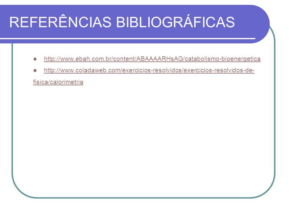 REFERÊNCIAS BIBLIOGRÁFICAS http://www.ebah.com.br/content/ABAAAARHsAG/catabolismo-bioenergetica http://www.coladaweb.com/exercicios-resolvidos/exercic