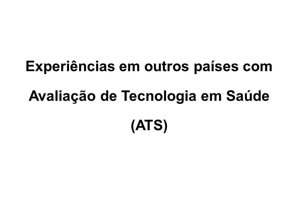 Experiências em outros países com Avaliação de Tecnologia em Saúde (ATS)
