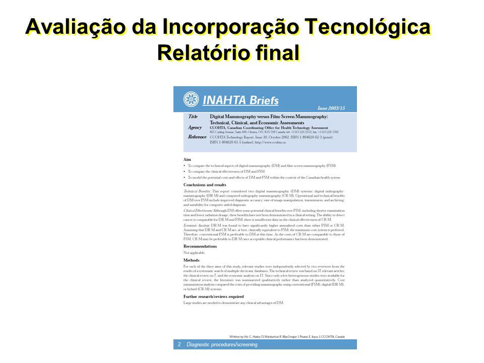 Avaliação da Incorporação Tecnológica Relatório final