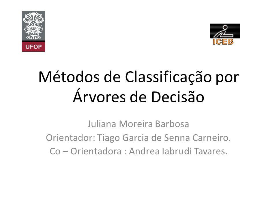 Métodos de Classificação por Árvores de Decisão Juliana Moreira Barbosa Orientador: Tiago Garcia de Senna Carneiro. Co – Orientadora : Andrea Iabrudi