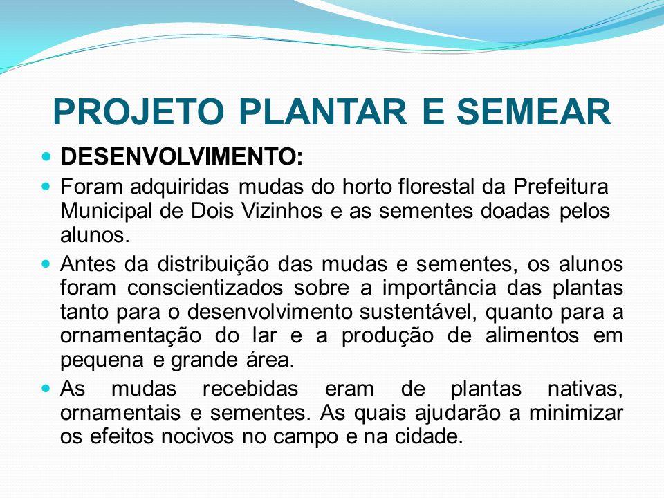 PROJETO PLANTAR E SEMEAR DESENVOLVIMENTO: Foram adquiridas mudas do horto florestal da Prefeitura Municipal de Dois Vizinhos e as sementes doadas pelo