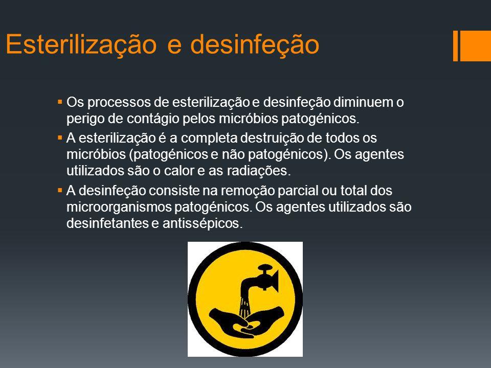 Os processos de esterilização e desinfeção diminuem o perigo de contágio pelos micróbios patogénicos. A esterilização é a completa destruição de todos