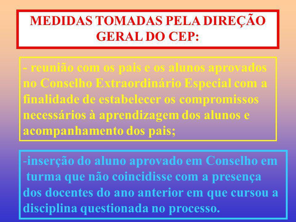 MEDIDAS TOMADAS PELA DIREÇÃO GERAL DO CEP: - reunião com os pais e os alunos aprovados no Conselho Extraordinário Especial com a finalidade de estabel