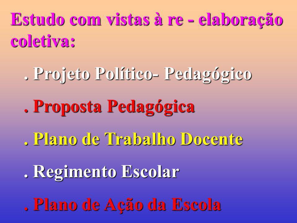 Estudo com vistas à re - elaboração coletiva:. Projeto Político- Pedagógico. Proposta Pedagógica. Plano de Trabalho Docente. Regimento Escolar. Plano