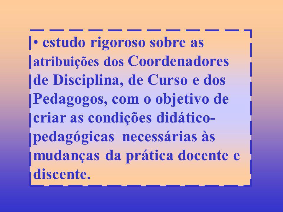 estudo rigoroso sobre as atribuições dos Coordenadores de Disciplina, de Curso e dos Pedagogos, com o objetivo de criar as condições didático- pedagóg