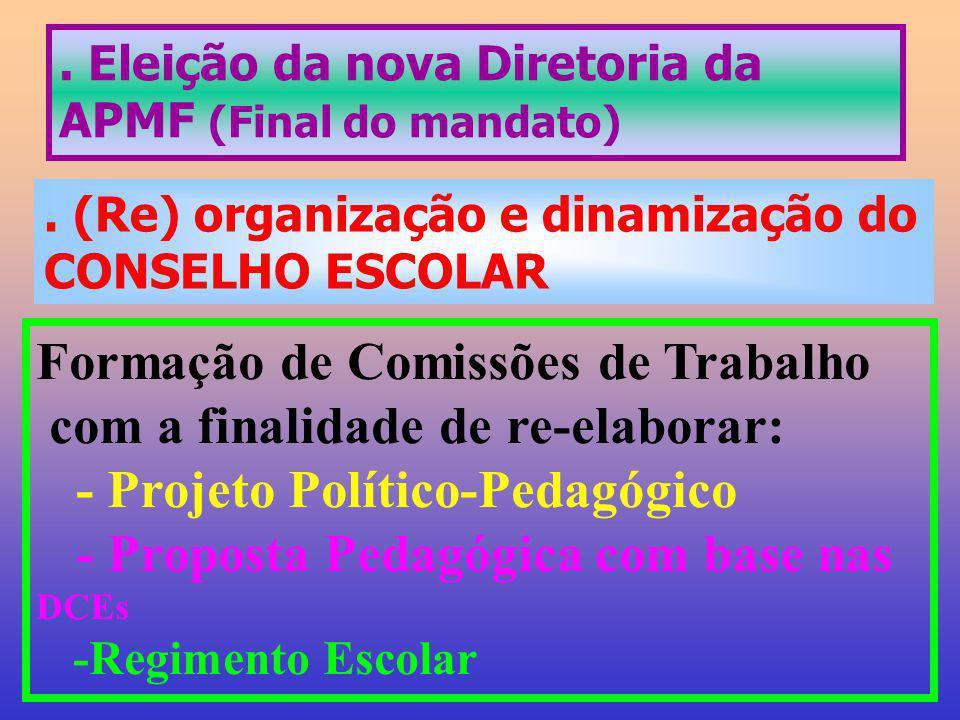 . Eleição da nova Diretoria da APMF (Final do mandato). (Re) organização e dinamização do CONSELHO ESCOLAR Formação de Comissões de Trabalho com a fin